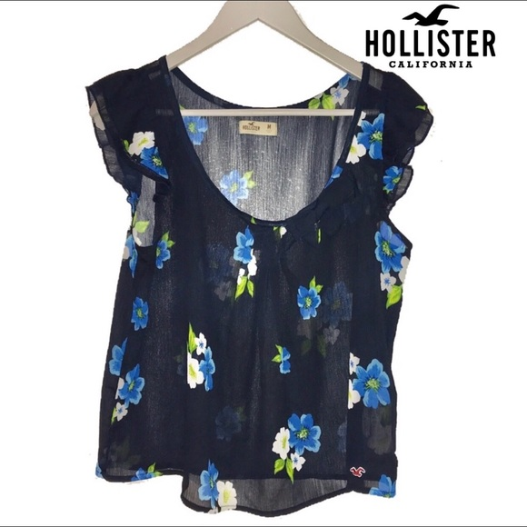 Hollister Tops - Hollister Sheer floral Top Blouse
